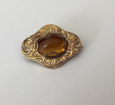Vintage Antique Gold Filled Amber Colored Cabochon Pin Brooch Victorian PS Co