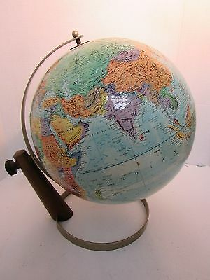 "Vintage Replogle World Nation Series Globe wood support 12"" Diameter early 60s"