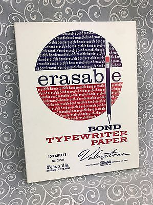Velvatone Erasable Bond Typewriter Paper 100 Sheets Springfield Typing Vintage