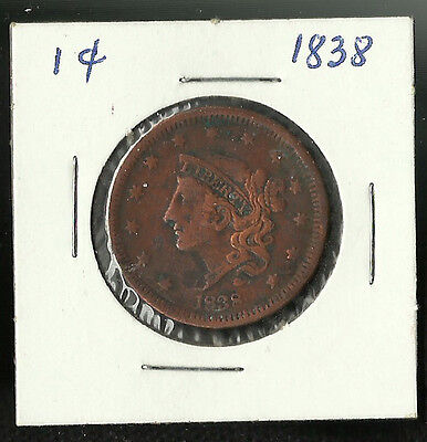 1838 Large One-Cent 1-Cent Matron Head Circulated
