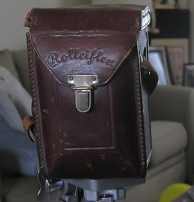 Original Antique 30s(?) ROLLEIFLEX Standard TLR camera case brown leather bag