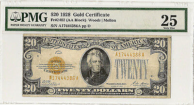 1928 $20 Gold Certificate - Pmg Vf25 - Priced Right!