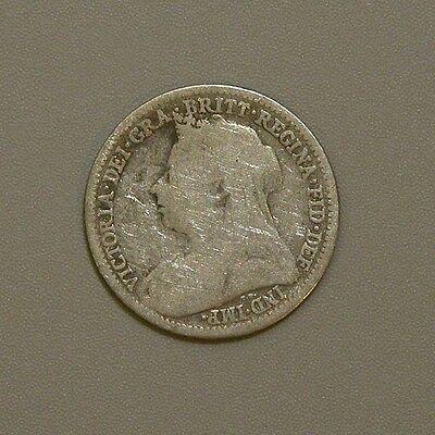 1900 Great Britain Queen Victoria Silver Three Pence
