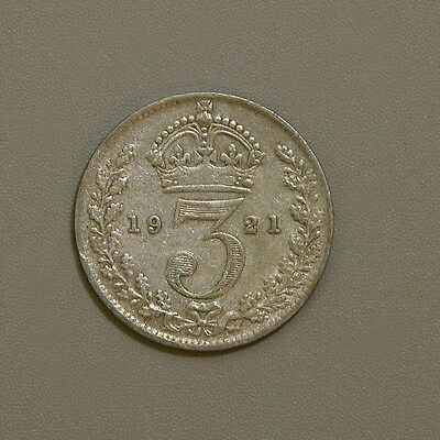 1921 Great Britain George V Silver Three Pence