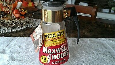 Maxwell House Instant Coffee Pyrex Corning Glass Coffee Maker