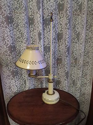 Vintage Toleware Student Lamp, Taupe gold Detail