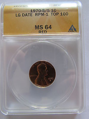 1970 S/S Lincoln Cent ANACS MS 64 Red Large Date RPM 1 Top 100