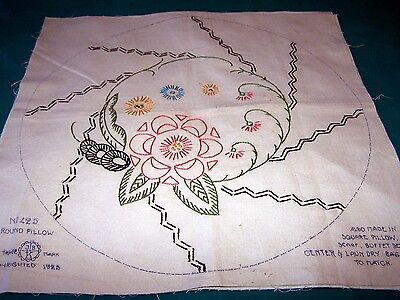 "ANTIQUE PILLOW COVER,HAND EMBROIDERY, FLOWER DESIGN, 15"" Round, NICE"
