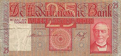 Netherlands  25  Gulden  19.3.1941  Series LL  Circulated Banknote L