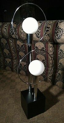 Vintage 1950's CHROME Table Lamp MID CENTURY Light Sonneman Kovacs Black DECO