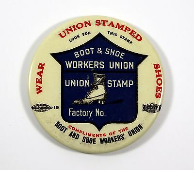 Vintage Pocket Mirror Boot & Shoe Workers Union Celluloid c1920 Advertising
