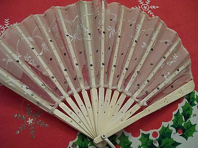 Antique Silk Fan Hand Held Star Sequin Fan Celluloid