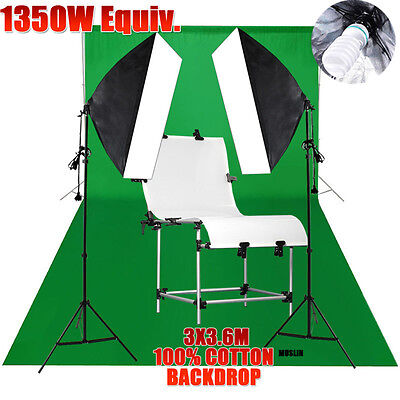 Photo Studio 270w Lighting Softbox Light Stand Green Backdrop Shooting Table KIT