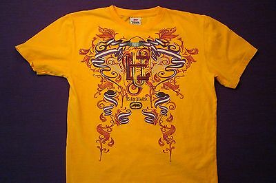 Youth Large ECKO UNLTD. Gold Short Sleeve Cotton T-Shirt Purple & Red Graphic