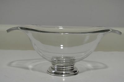 Vintage Double Lip Crystal Glass Condiment Candy Bowl Dish Sterling Base