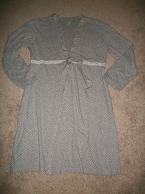 Pre-Owned Womens Size M Motherhood Maternity Gray Polka Dot Knit Robe