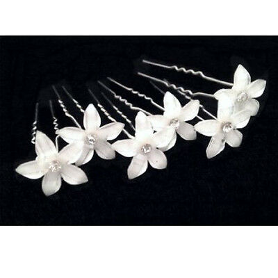 US Fashion 6Pcs Beautiful Flower Hair Pin With Crystal Center For Wedding Party