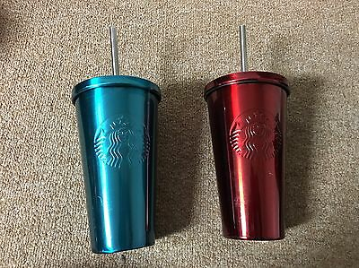 2 Starbucks Iced Grande Red Blue Cup Tumbler 16 oz NEW