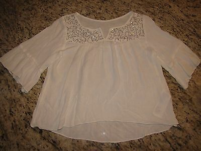 Girls ABERCROMBIE KIDS White Flowy Top Shirt with Lace Sequins Sz L