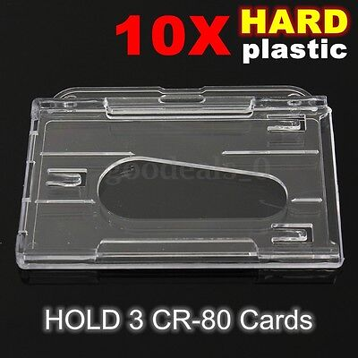 10x Hard Plastic Horizontal Transparent ID Card Badge Holder Case Cover Clear