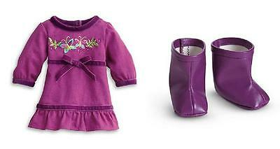 """NEW American Girl Bitty Baby Twins Purple Butterfly Dress and Boots for 15"""" Doll"""