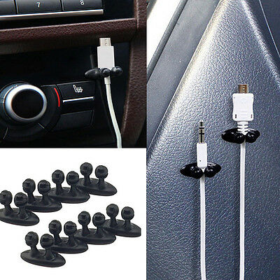 8Pcs black Car Charger Line Headphone/USB Cable Car Clip Interior Accessories