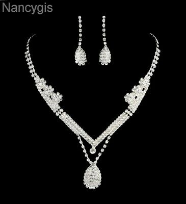 Silver Royal Crystal Drop Necklace & Earrings Party Bridal Wedding Jewellery Set