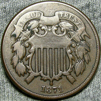 1871 Two Cent Piece Type Coin       ----  NICE  ---- #Z874