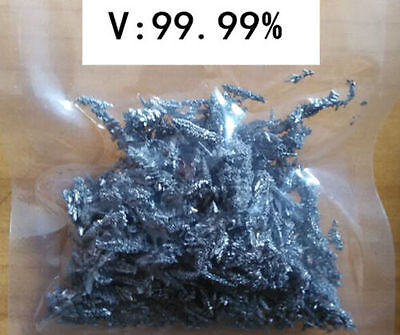 10 grams High Purity 99.99% Vanadium V Metal Lumps Vacuum packing