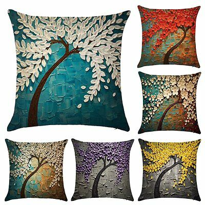 Flower Tree Linen Pillow Case Waist Back Throw Cushion Cover Home Sofa Decor
