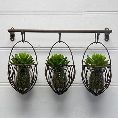 Home Garden Decor Iron Wall Mount Pot Plant Holder Planter Rack Window 3x Basket
