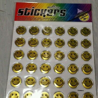 1 Pack Of Gold Smiley Face Stickers - 36 Stickers - Foil & Embossed - NEW