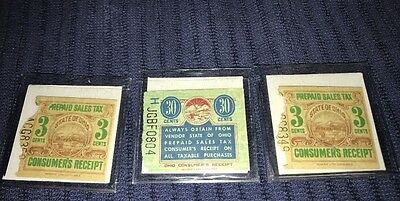 3 Prepaid Sales Tax Papers Consumer's Receipt State Ohio 3 & 30 Cents 1939 Token