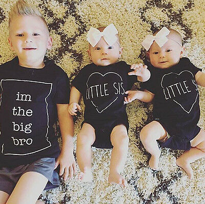 Newborn Bro Sister Printed Kids Summer Clothes T-shirt Short Sleeve Tops Blouse