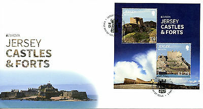 Jersey 2017 FDC Castles & Forts EUROPA 2v M/S Cover Grosnez Architecture Stamps