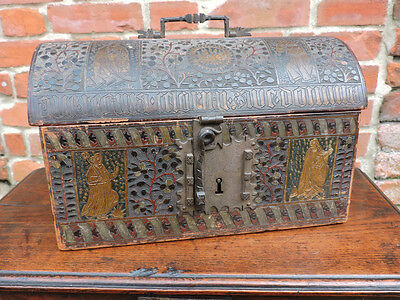 19th Century Gothic Revival Antique Leather Clad Domed-Topped Table Box Casket