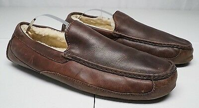 Ugg Australia Mens 13 M Brown Leather Sheepskin Lining House Slippers