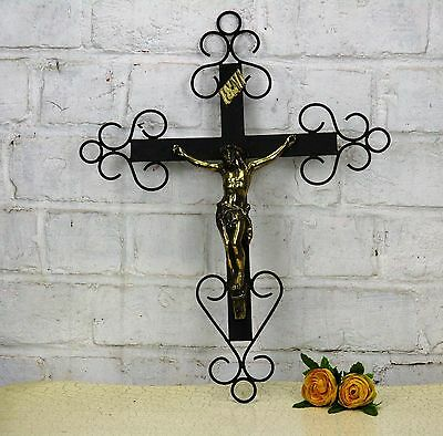 Vintage French Hanging Crucifix Wrought Iron Brass Fleur de Lis Lovely
