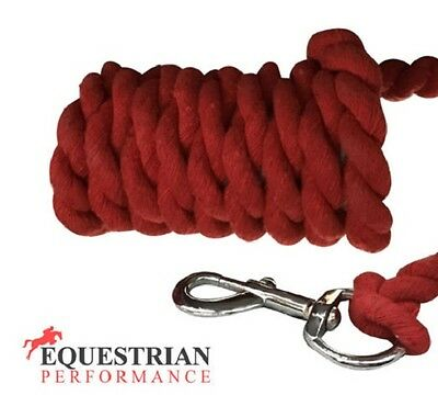 SALE! EQP Cotton Lead Rope With Silver Trigger Clip - Red Lead Rope