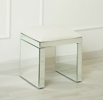 Mirrored Venetian Dressing Table Stool with Cushion Seating Bedroom