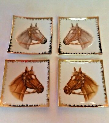 Vintage World Creations By Orimco 4 Pc Plate Set Black and Brown Horse Heads