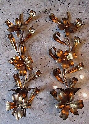 Exquisite Italy Tole Art Gold Gilt Hollywood Regency Pair Candle Holder Sconce