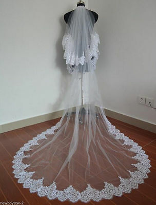 White Ivory Cathedral Long Wedding Veil 2 Tier Lace Sequin Bridal Veils