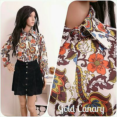 Vintage 60s 70s Orange Brown Daisy Floral Psych Mod Mini Tunic Blouse 16 18 44