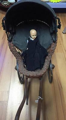 Antique Pram-Vintage Baby Doll Carriage circa1870?-Reed/Rattan/Clothe-MetalFrame