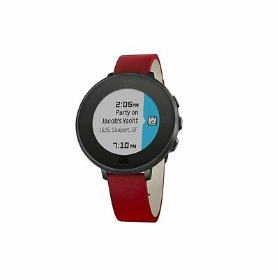 Pebble Time Black Round Smart Watch for iPhone & Android, Red Leather Strap