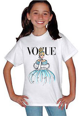 Disney Princess Cinderella Vogue T-shirt Unisex Boys Girls Kids Birthday 824
