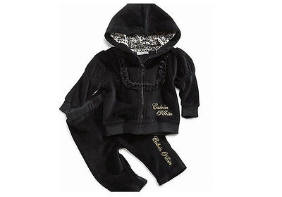 New Calvin Klein Baby Girl 2 Piece Set Hoodie & Pants