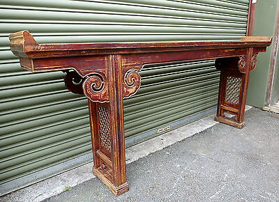 Antique Chinese Laquered Elm Wood Carved Ming Style Large Altar Trestle Table sh