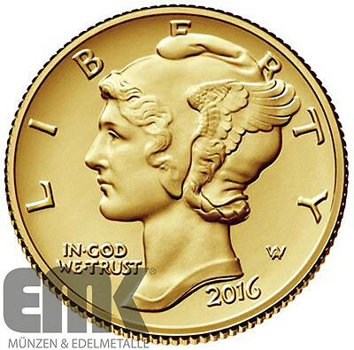 USA - 10 Cents 2016 - One Dime - 100 Jahre Mercury Dime - 1/10 Oz. Gold in Stgl.